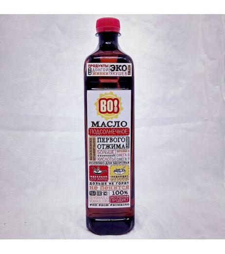 Масло подсолнечное высокоолеиновое нерафинированное холодного отжима 800 мл.