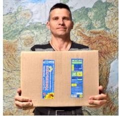 Коробка масла холодного отжима Особое для салата (25 бутылок по 0,85л.) 20 кг.